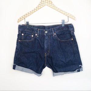 Levi's 505 W33 L34 High Waisted Dark Denim Shorts
